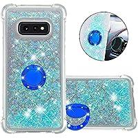 Funda Samsung Galaxy S10e TPU Silicona Purpurina Carcasa,Funda para teléfono móvil de Arena movediza líquida en con Base de Anillo de Diamantes (Estrellas Azules Fluorescentes)