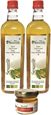 Farm Naturelle Virgin Cold Pressed Sesame Oil, 915ml with Free Forest Flower Honey, 40g (Pack of 2)