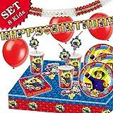 FEUERWEHRMANN SAM Geburtstag-Deko-Set, 66-teilig zum Kindergeburtstag Jungen und Mädchen und Feuerwehr-Motto-Party für 8 Kids Test