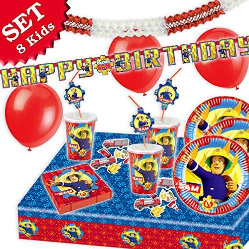 FEUERWEHRMANN SAM Geburtstag-Deko-Set, 66-teilig zum Kindergeburtstag Jungen und Mädchen und Feuerwehr-Motto-Party für 8 Kids