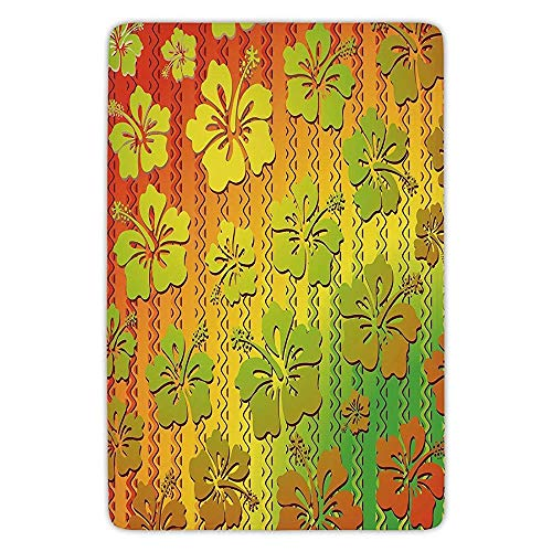 Bathroom Bath Rug Kitchen Floor Mat Carpet,Rasta,Hibiscus Exotic Jamaican Island Flower with Zig Zag Lines Print,Light Green Red and Marigold,Flannel Microfiber Non-Slip Soft Absorbent Island Flower Bowl