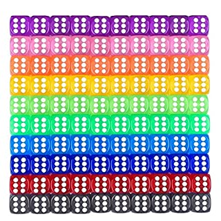 Maveek 100 Pieces 6-Sided Dice Set, 10 Colors 16 mm Games Casino, Gifts, Teaching Math Party