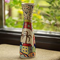 ExclusiveLane 'The Hut Long-Neck' Hand-Painted Ceramic Vase (12 Inch) - Table Top Decorative Vases Flower Vases for Home Décor Flower Pots for Living Room