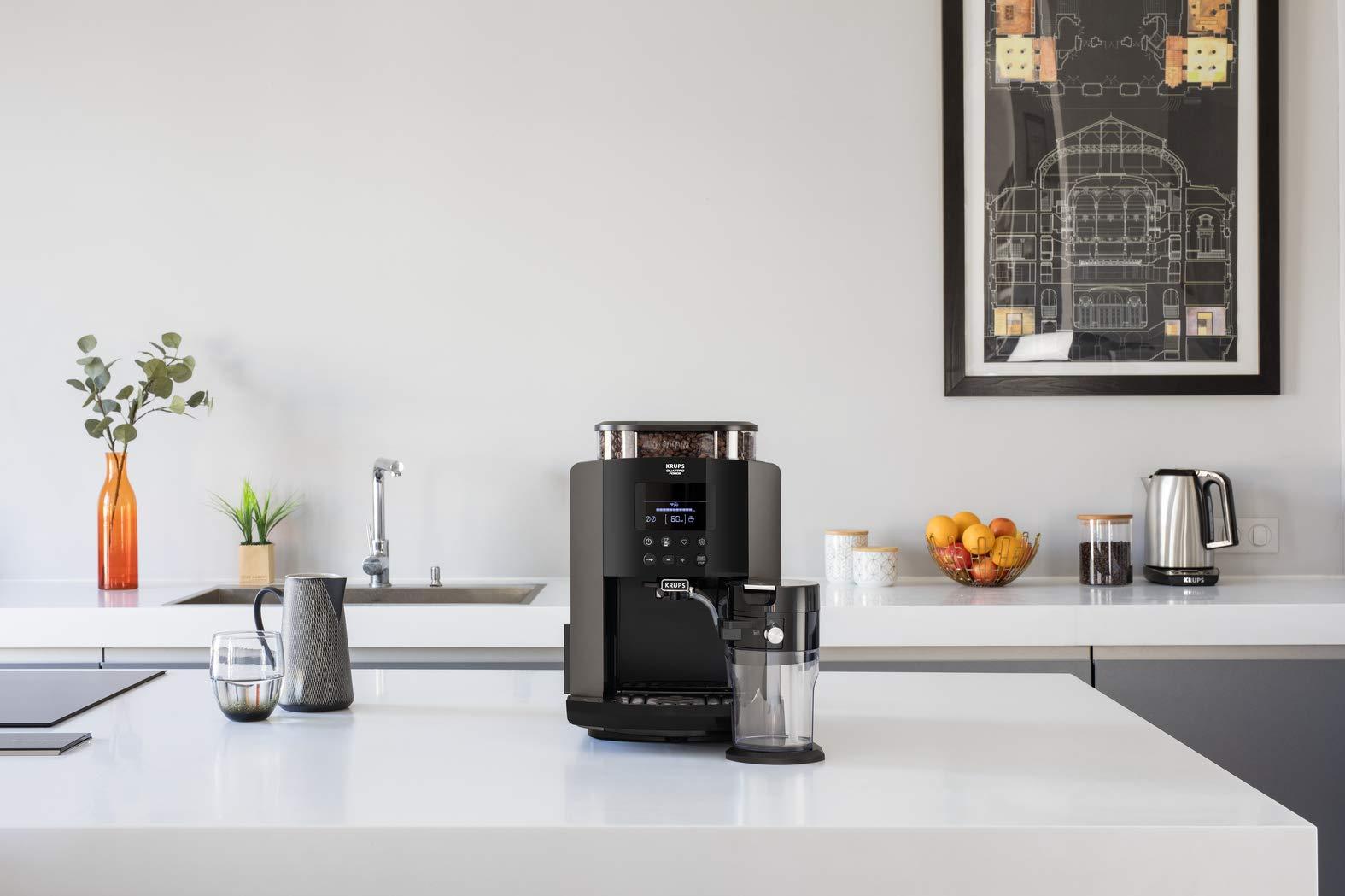 Krups-EA819E-Arabica-Latte-Quattro-Force-Kaffeevollautomat-1450-Watt-Wassertankkapazitt-17-Liter-Pumpendruck-15-bar-LCD-Display-Platin-schwarz