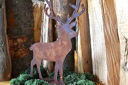 Deko Hirsch auf Metallplatte Waldtier Tier Rost Edelrost Metall Garten Terrasse 28cm