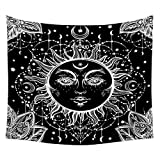 CATLXC Tapiz Patrón De Flores Paisley Rostro Humano del Sol Tapices Decorativos Estrella Luna Toallas De Playa,200X150cm