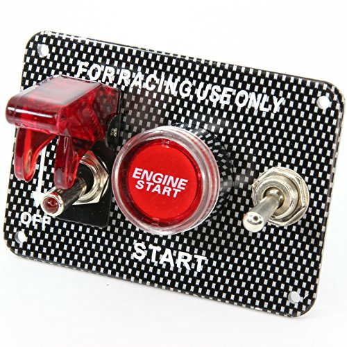 Start Stop Schalter Panel Carbon Racing Knock out LED beleuchtet rot 12V Relais -