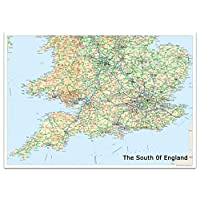 South of England Map - Includes Cities, Towns and Roads - Greater London and Connecting Areas - 84.1 x 118.9 Centimetres (A0) - Ideal for Route Planning, Classroom, Office or Home