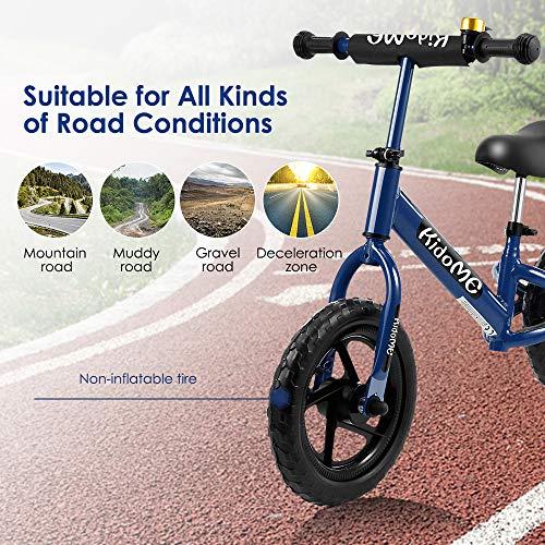"""KidoMe 12"""" Bicicletta da Equilibrio Blu Prima Bici Senza Pedale Regalo per Bambini Acciaio al Carbonio Pneumatici Senza necessità di gonfiarsi Sella e Manubrio Regolabile 2, 3, 4 ,5 e 6 Anni - 5"""