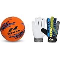 Nivia Street Football, Size 5 (Orange) & Nivia Carbonite Web 896 Latex Goalkeeper Gloves (Multicolour) Combo