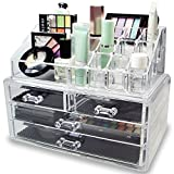 Premium Make-up and Jewelry Cosmetic Organiser | 4 Tier Clear Acrylic Make-up Organizer with Draws - Extra Thick Acrylic Make up Box - Makeup Organizer bag Cosmetic Storage Large Multifunction – Make up Nail Varnish Display Stand - 20 Sections (Large)