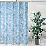 HM&DX Wasserdichter duschvorhang mit Ringe, Antischimmel Singt Badvorhänge Blumen für Bad Hotel-Baby Blau 200x240cm(79x94inch)