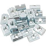 T Moer, M4 / M5 / M6 / M8 verzinkt koolstofstaal T glijmoer voor type 40 aluminium extrusieprofielen (20 stuks) (M8)