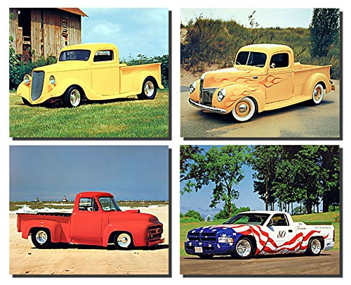 Impact Posters Gallery Wanddekoration Bild Vintage Automobil-Ford LKW, Dodge Pickup 8x 10Vier Set Kunstdruck Poster - Ford-lkw-bilder