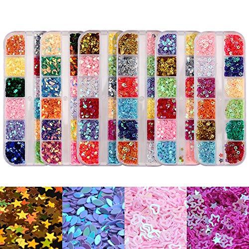 ti-Color Nail Pailletten 3D Boot Blume Herz Stern DIY Hohlformen Rivet Glitter Pailletten Nail Art Dekorationen Zubehör ()