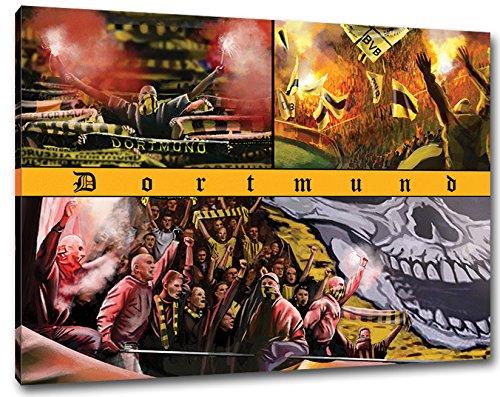 Ultras Dortmund Collage, Bild auf Leinwand XL , fertig gerahmt, 80 x 60 cm