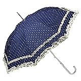 VON LILIENFELD Regenschirm Damen Mode Sonnenschirm Brautschirm Hochzeitsschirm Mary-Poppins-Schirm Automatik Mary Polkadots Punkte mit Rüschen