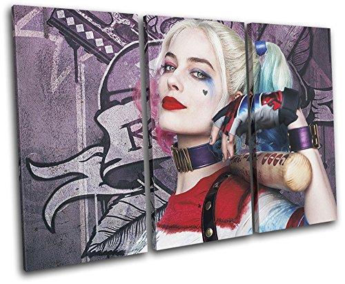 (Bold Bloc Design - Suicide Squad Harley Quinn Movie Greats 120x80cm TREBLE Leinwand Kunstdruck Box gerahmte Bild Wand hangen - handgefertigt In Grossbritannien - gerahmt und bereit zum Aufhangen - Canvas Art Print)