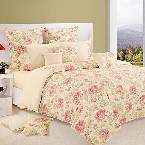 Yuga 8 Stück im Beutel gesetzt Creme bedruckten Baumwollmaterial Tröster Bettwäsche-Set Bett -