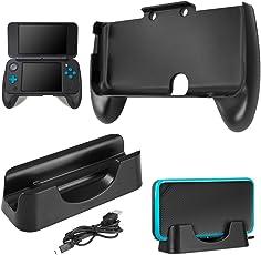 Ladestation für New Nintendo 2DS XL mit Handgriff, AFUNTA Ladestation Cradle Stand mit Mini-USB-Kabel und Kunststoffgriff für 2017 Nintendo 2DS LL - Schwarz