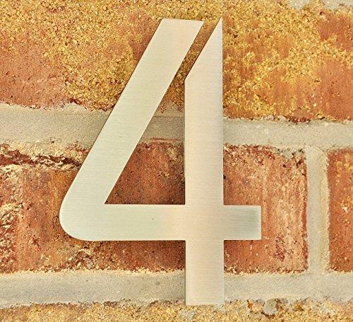 nanook Hausnummer Stil 'Bauhaus' - Edelstahl gebürstet - 150 x 2 mm - Nr. 4
