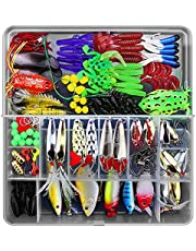 PROBEROS Artificial Lure Kits 141 Pieces with Tackle Box Including Spoons Swim Baits Crank Baits Spinner Baits for Freshwater Saltwater Fishing