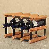 KMYX Moderne Holz Weinregal 6 Flaschen Weinflasche Rack Eisen Kunst Weinkeller Preservation Ausstellungsstand Für Bar Küche Restaurant Wein Zubehör
