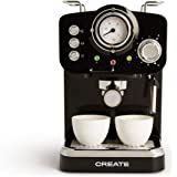 IKOHS THERA Retro - Cafetera Express para Espresso y Cappucino, 1100W, 15 Bares, Vaporizador Orientable, Capacidad 1.25l, Caf