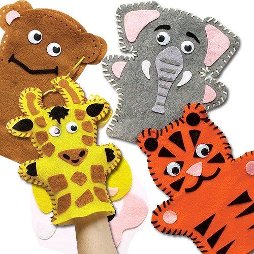 Nähset Handpuppen - Tiere des Dschungels - aus Filz für Kinder zum Basteln - 4 Stück