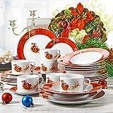 VEWEET, Serie CHRISTMASDEER, 30 teilig Set Porzellan Geschirrservice, Kaffeeservice, Kombiservice für Weihnachten Vergleich