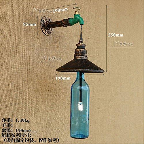 MDERTY LED Wandleuchte Innen Wandlampe Schmiedeeisen OfficeWalkway Schlauch Flasche, blaue Flasche Wandbeleuchtung für Bad Flur Kinderzimmer Treppenhaus Wohnzimmer Schlafzimmer -