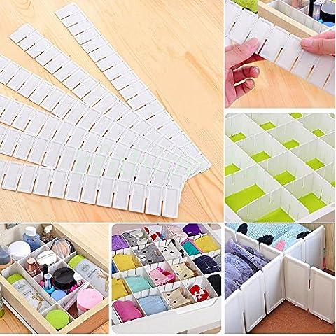 Malayas®6 pzas Divisor Cajones DIY Cuadricula Organizador de Almacenaje Plastico Blanco, 43cm(17'') X 5cm(2'')