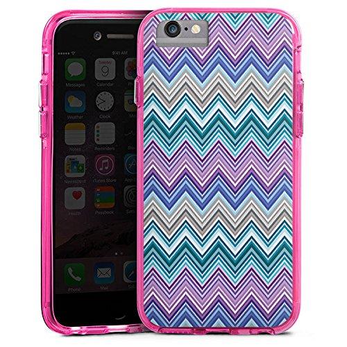 Apple iPhone X Bumper Hülle Bumper Case Glitzer Hülle Zickzack Colourful Bunt Bumper Case transparent pink