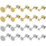 100 Paires Earring Posts Pad, Poteaux Plat de Boucle d'oreille, Boucles d'oreilles en Acier Inoxydable, pour la Fabrication d