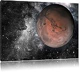 Mars im Weltall B&W Detail, Format: 100x70 auf Leinwand, XXL riesige Bilder fertig gerahmt mit Keilrahmen, Kunstdruck auf Wandbild mit Rahmen, günstiger als Gemälde oder Ölbild, kein Poster oder Plakat