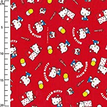 Tela infantil Sanrio Kiyohara - Hello Kitty Okashi Rojo x10cm