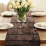 Snoogg Altes Holz Texturen Modern Digital Muster Tischläufer Poly Baumwolle Leinwand gedruckt Stoff Tisch Top Dekoration Home Decor 27,9x 182,9cm