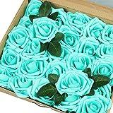 VLoveLife Lot de 25 fleurs artificielles ivoire réalistes Pour mariage, centre de table, arrangements, anniversaire, événement prénatal, intérieur, fêtes, décoration, bleu sarcelle, 3''