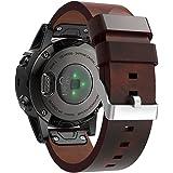 Pinhen, Uhren-Lederband, Ersatz-Armband, für Garmin Fenix 55S 5X, Smartwatch