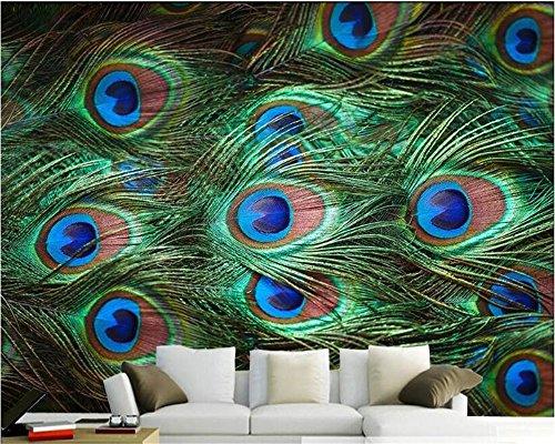 MuralXW Wallpaper for Wall Art 3D HD Dekorative Pfauenfeder Nahaufnahmen Simple Wallpaper Wall Art Wallpaper Fototapete Papier peint-400x280cm
