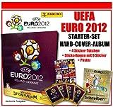Panini - UEFA EURO EM 2012 - STARTER-SET / HARD-COVER-ALBUM + 4 STICKER-TÜTCHEN + 1 STICKER-SEITE mit 9 STICKER - original deutsche Version - NEU & OVP