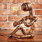 Vintage Industrial Tischlampe Steampunk Tischleuchte Rustikale Wasserrohr Nachttisch Schreibtisch Lampe Für Haus Wasserpfeife Schreibtisch Lampen Für Bar Club Schlafzimmer Wohnzimmer Hotel Coffee Shop