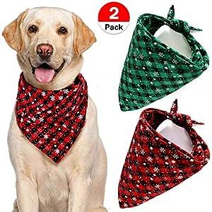 VAMEI-Pet-Dog-Bandana-xmas2Pack-Christmas-Pet-Bibs-Plaid-Reversible-Triangle-Scarf-for-Dogs-Cats-Custume