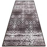 casa pura Vintage Teppichläufer | im angesagten Shabby Chic Look | hochwertige Meterware, gekettelt | Kurzflor Teppich Läufer | Küchenläufer, Flurläufer (Braun,80x450 cm)