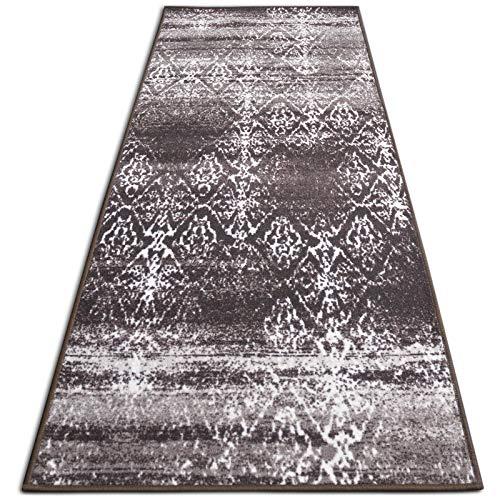 casa pura Vintage Teppichläufer | im angesagten Shabby Chic Look | hochwertige Meterware, gekettelt | Kurzflor Teppich Läufer | Küchenläufer, Flurläufer (Braun,80x300 cm)