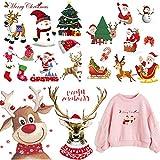 Patch Thermocollant Série De Noël 4 Feuilles 18 Pcs DIY Applique Patchs Stickers de Transfert de Chaleur pour Vêtements Jeans Décor