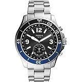 Fossil Hybrid Smartwatch FB-02 con quadrante nero e bracciale in acciaio inossidabile color argento da uomo FTW1305