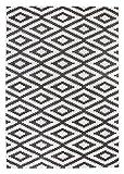 andiamo Teppich Losanga Webteppich, Geeignet für Den Wohnbereich, Polypropylen, schadstofffrei, 67 x 140 cm in Creme/Grau