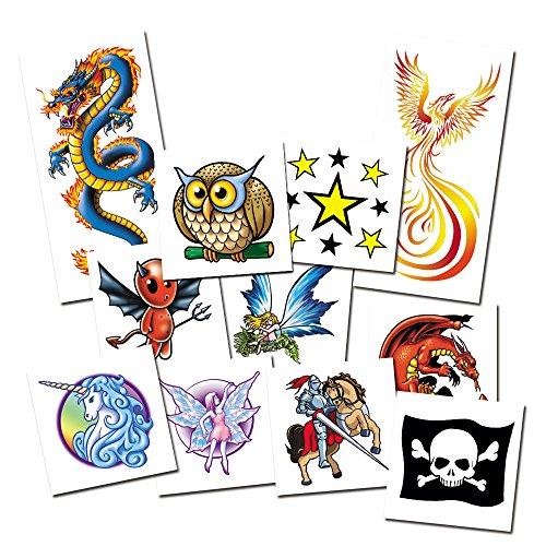 Juego de Tattoos Fantasía - 11x Tatuajes Temporales para Niños - Calcomanias con certificado cosmético