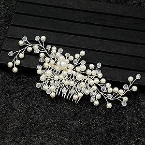 SimpleLife Braut Kamm, Braut Handarbeit Kristall Blatt Blume Haar Seite Kamm Party Jubiläum Hochzeit Zubehör
